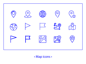 Maps – linear icons