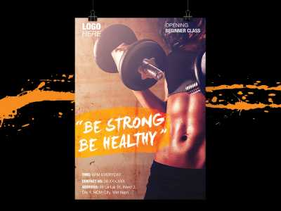 strong, healthy, fitness, gym, center, woman, girl, abs, packs, orange, active, flyer, poster