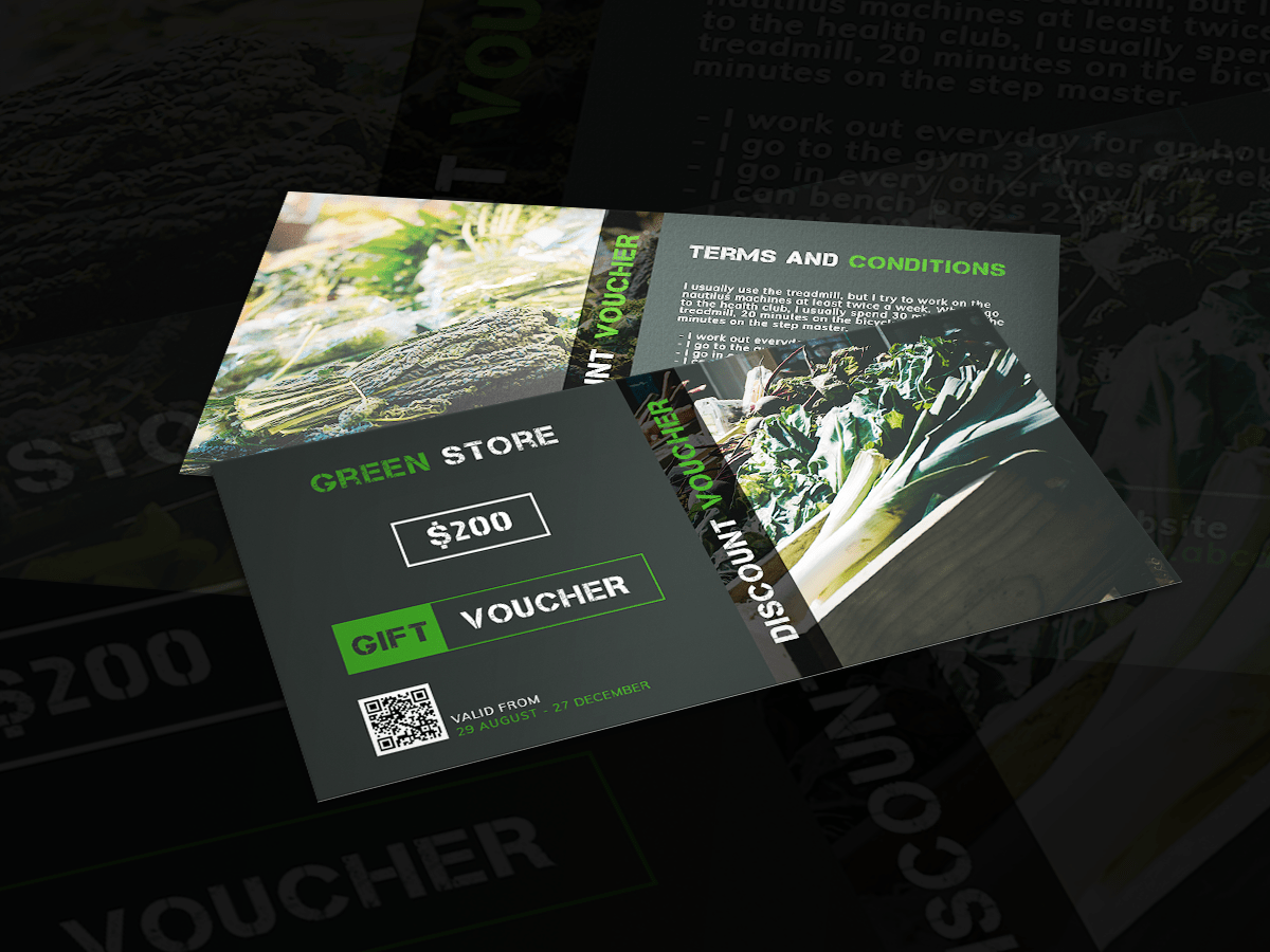 Gift Voucher,Green Store , sale, sale off, promotion, ,social media template, design template, social media,