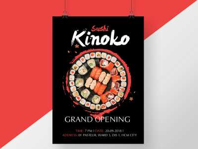 sushi, restaurant, opening, grand opening, japan, flyer, poster, black, red