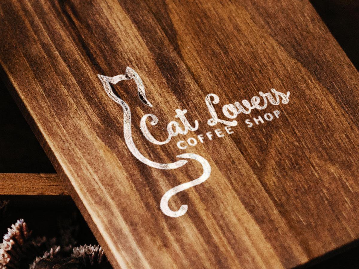 cat lover logo, design template, cute, lovely
