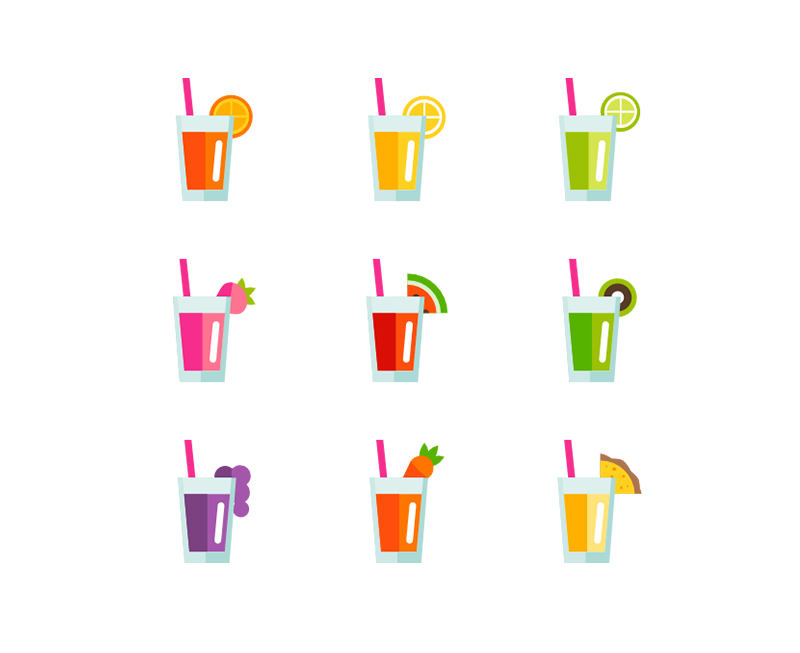 Fruit,vegetable, juice, icon, pack, nature, drink