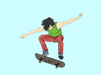 Young Man, Jumping, With Skateboard, Illustration, sport