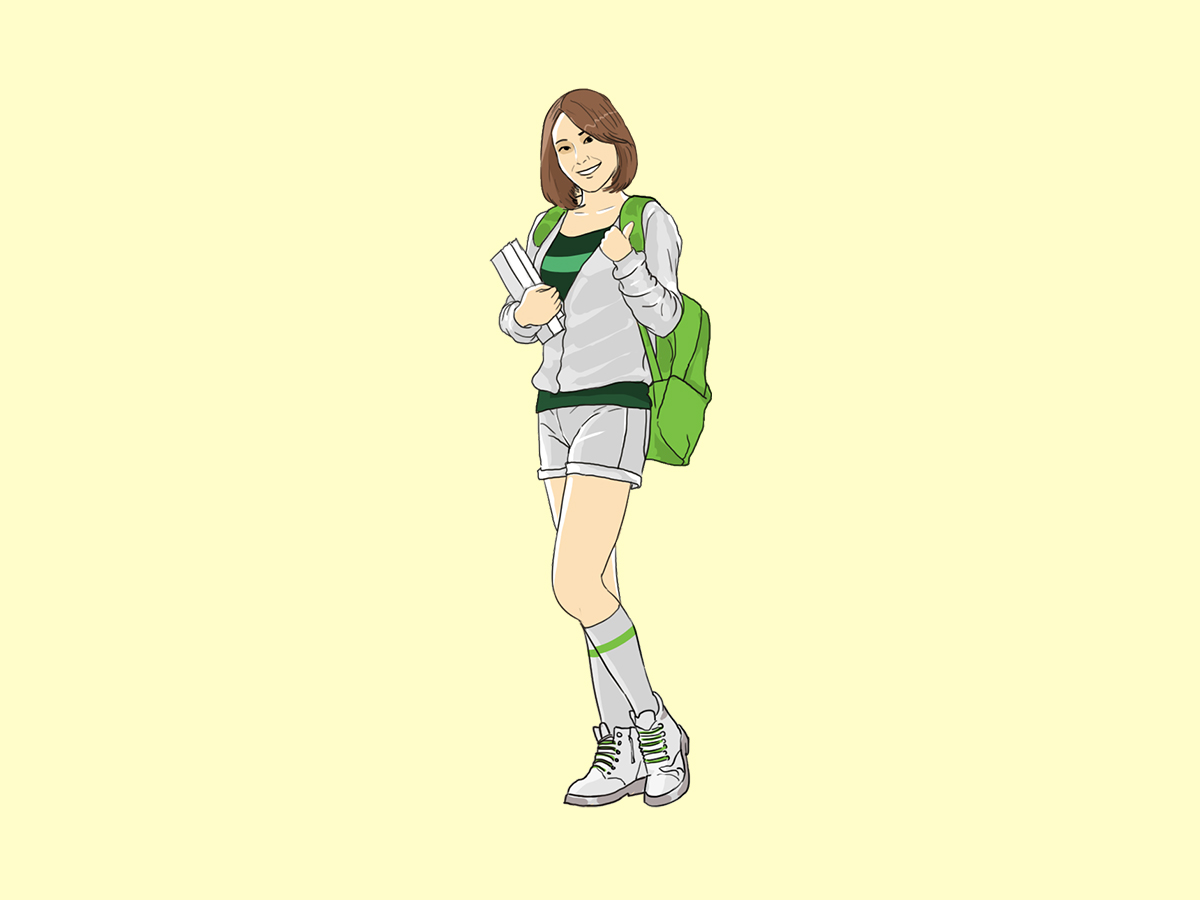 Young Student, Girl, Asian, Standing, Illustration