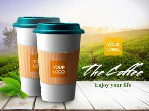 Coffee Cup in nature background templates