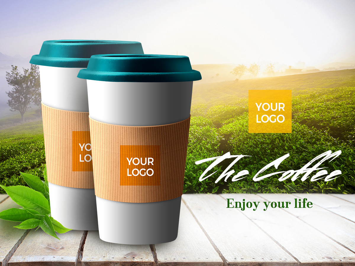 coffee cup, nature back ground, template, mockup