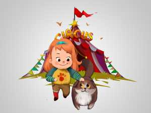 Lovely little girl and cat game character