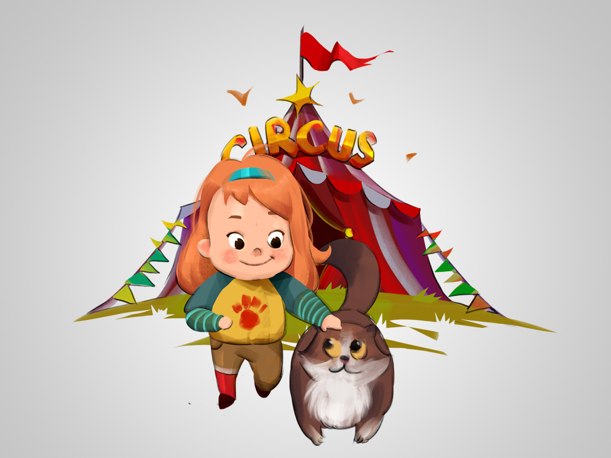 Lovely, little, girl, cat, game, character, design, game assets