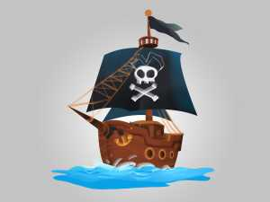 Pirates Ship Illustration game asset
