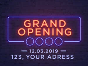 Grand Opening – Neon light style – PSD template