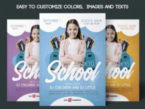 Back to School Poster, Flyer PSD Template