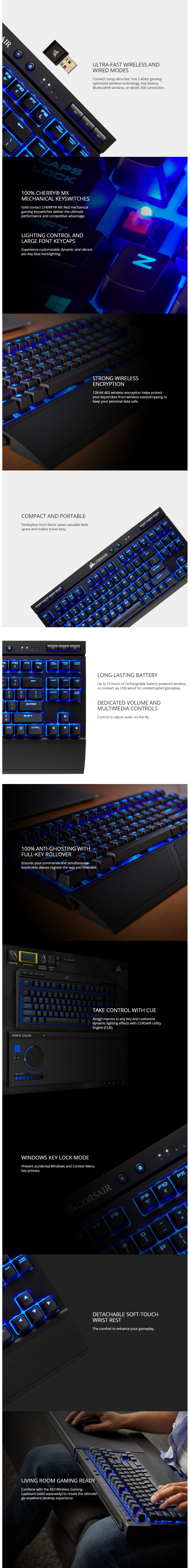 Corsair K63 Blue LED Wireless Mech Gaming KB (Cherry MX Red)