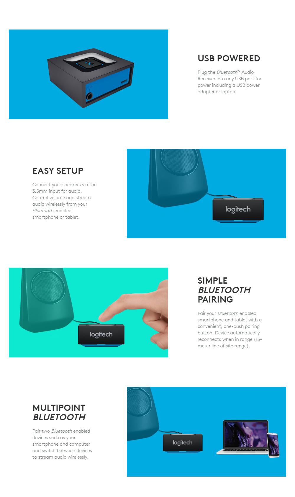 Logitech Bluetooth Audio Receiver (USB Powered)