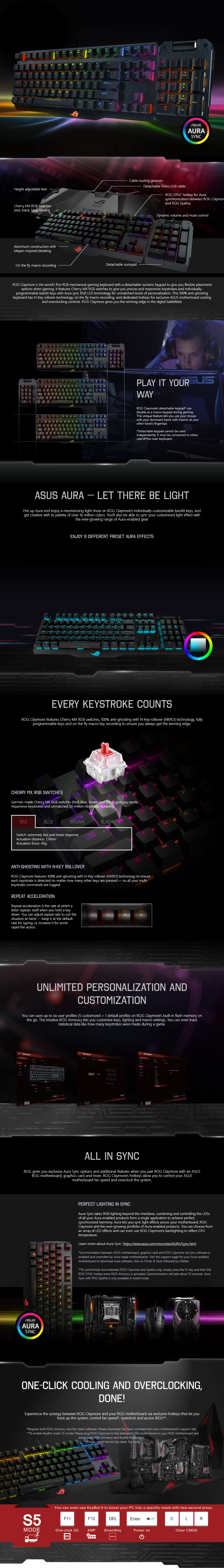 Asus ROG Claymore Mechanical RGB Keyboard Cherry MX (Red)