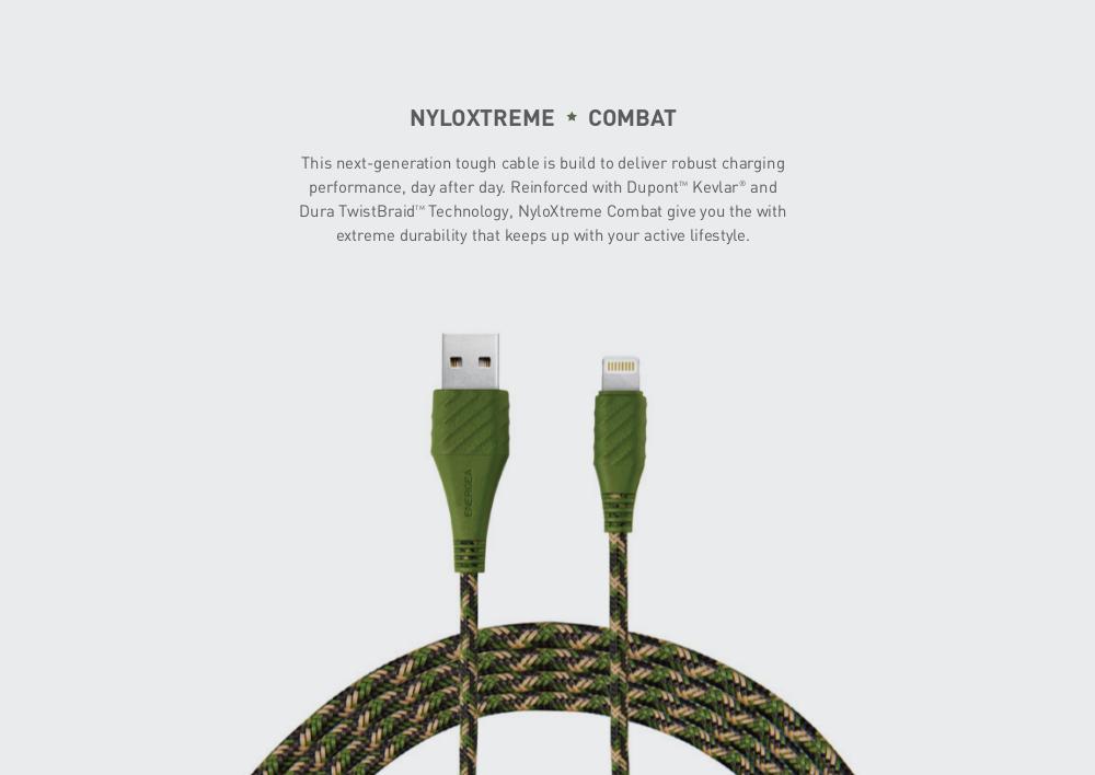 Energea 1.5M Nyloxtreme Combat Lightning (Green)