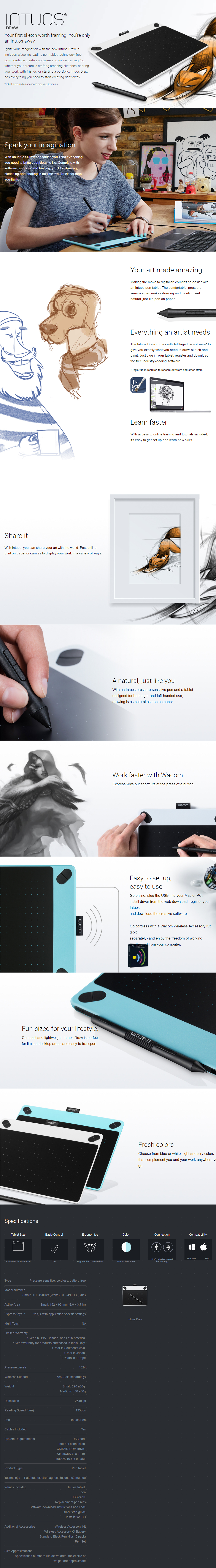 Tablets Graphic Wacom Intuos Draw Blue Wcm Ctl 490 B0 Overview