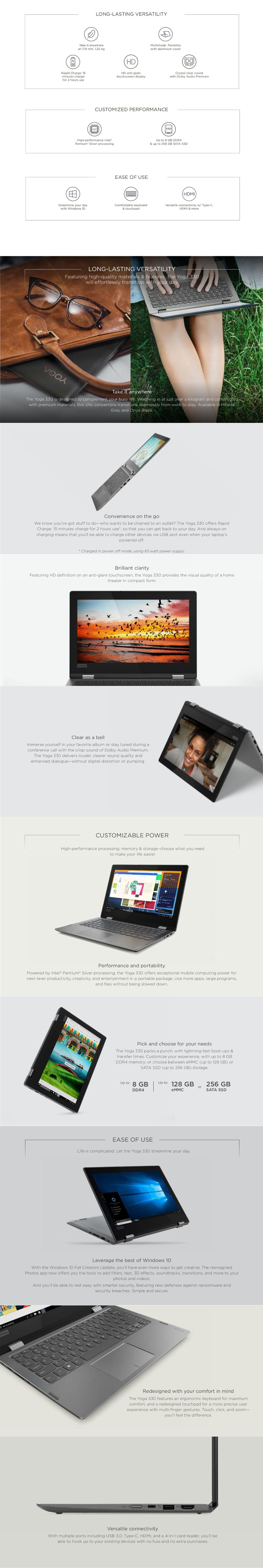 LENOVO YOGA 330-11IGM (81A6002RSB) Pentium/4GB/128GB eMMC [Premium  Refreshed]