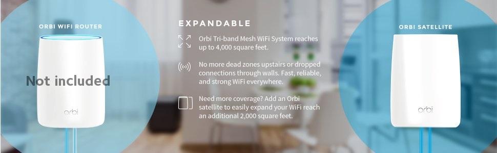 Netgear RBS50 Orbi Satellite Add on AC3000 Tri-band Mesh Wi-Fi System