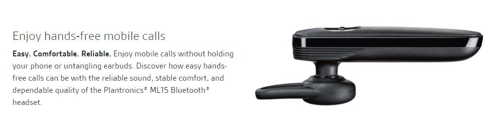 Plantronics® ML15 Bluetooth® Headset With Mic ea5897bdbf