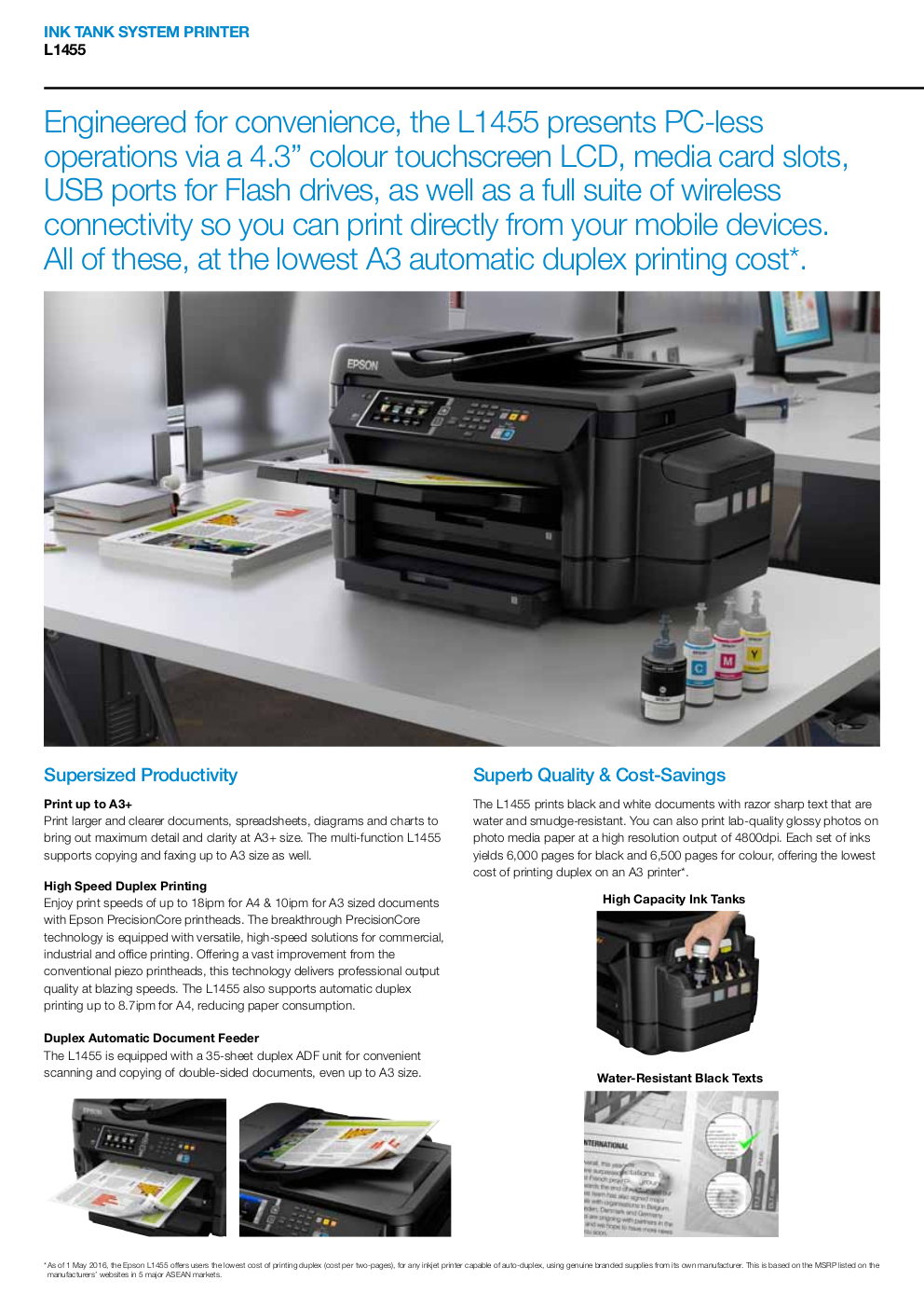 Epson EcoTank L1455 Ink Tank Printer A3 Multi-Function Colour Inkjet for  Office