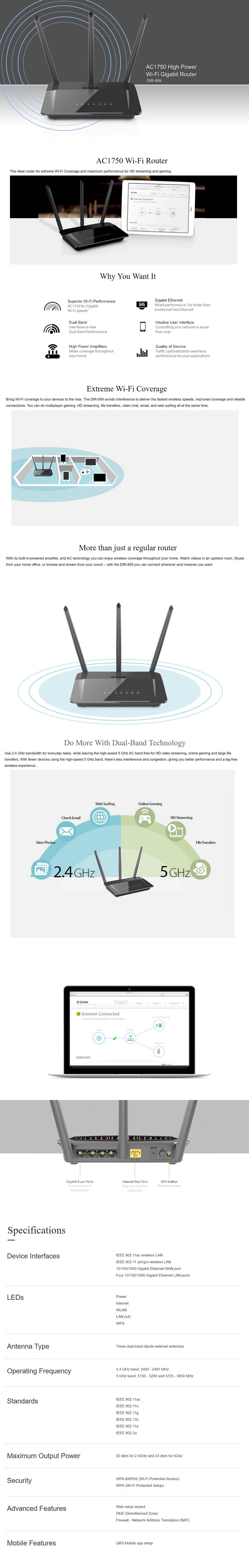 D-Link AC1750 High Power Wi-Fi Gigabit Router (DIR-859)