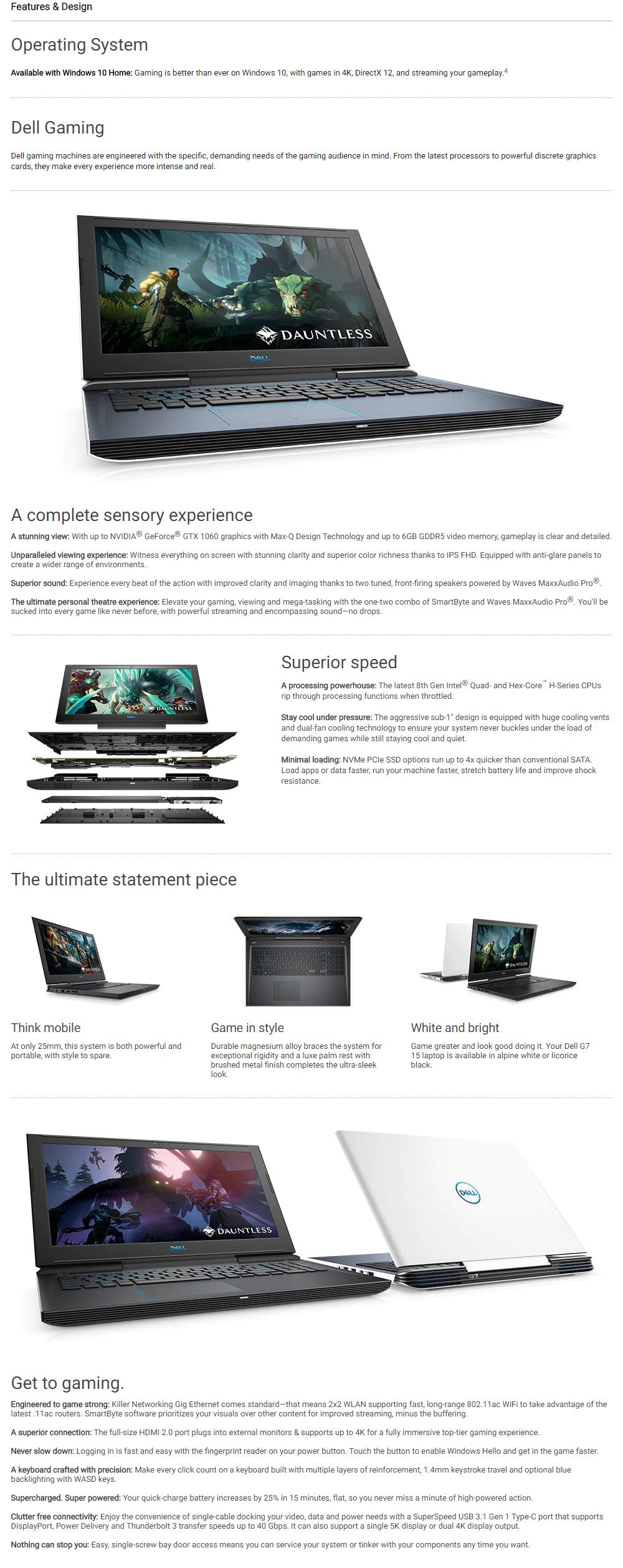 Dell G7-875814GL (Intel i7, 8GB RAM, 1TBHDD+128SSD GTX1050TI (4GB) (Black)