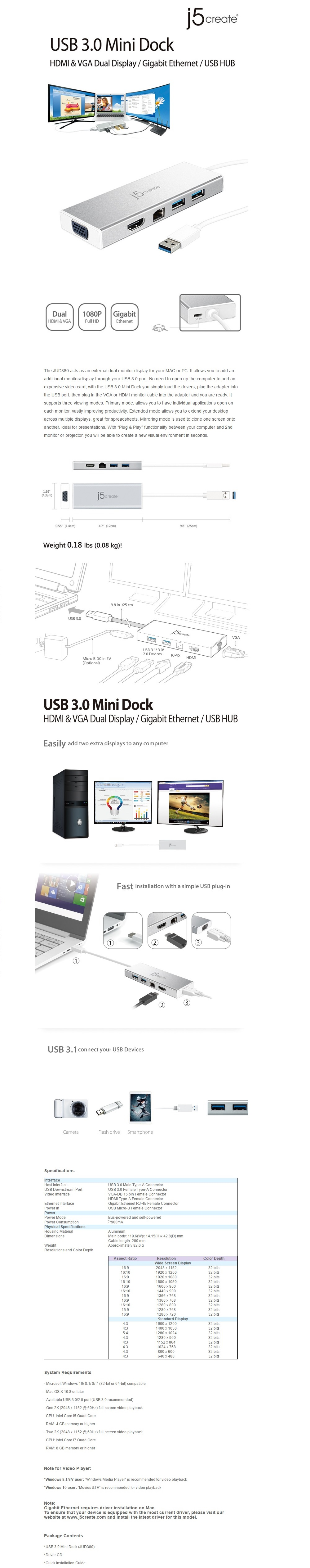J5Create JUD380 USB 3 0 Mini Dock
