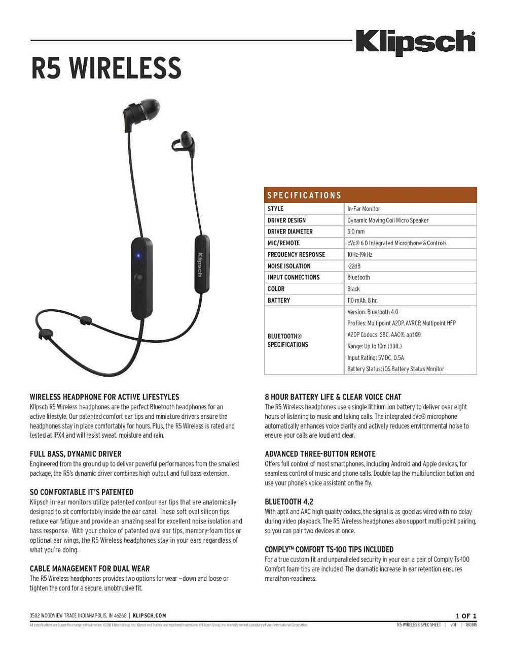 ad1cebd793d5fa Audio   Wireless Earphones   Klipsch R5 Wireless Earphones (Black ...