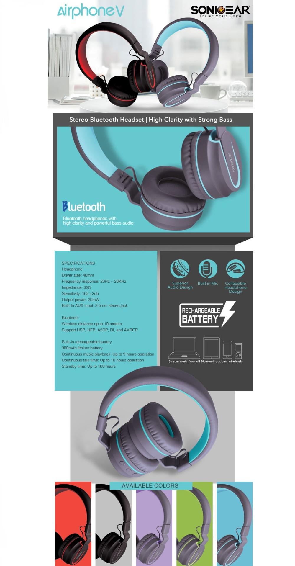 Audio | Wireless Headphones | SonicGear AirPhone V Bluetooth ...