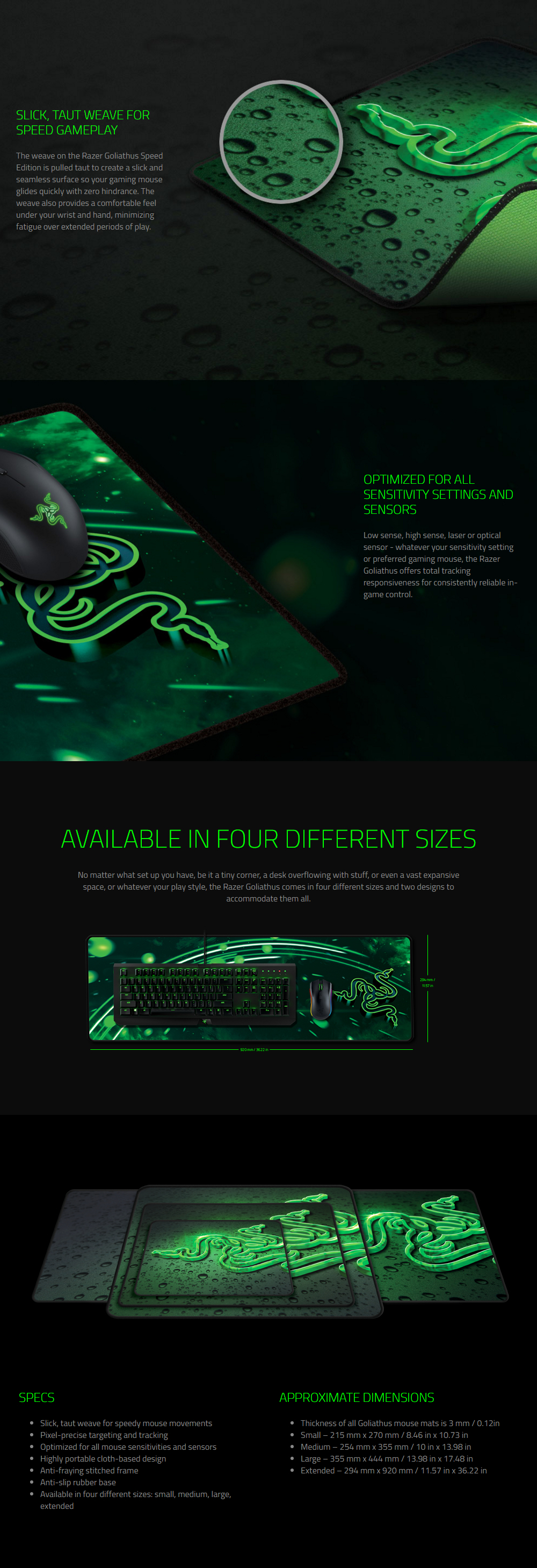 Toys Gaming Accessories Mousepads Razer Goliathus Speed Mousepad Mouse Pad Gamers Game Overview
