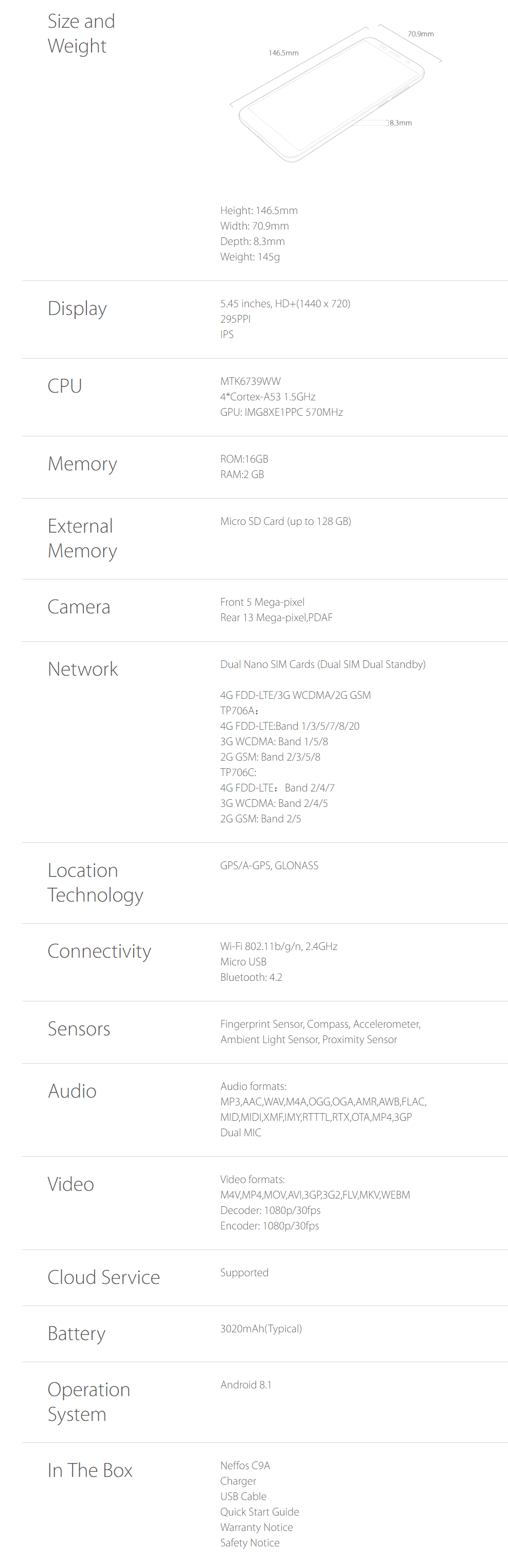 Neffos C9A 16GB LTE (Silver)
