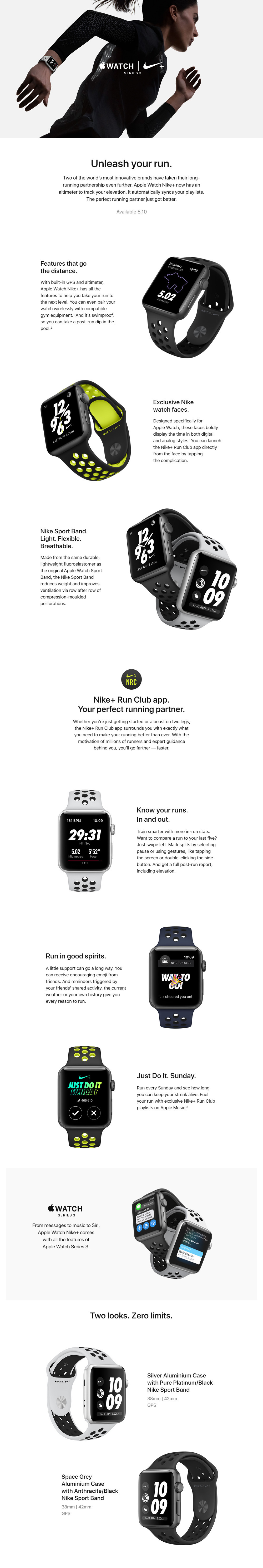 Apple GPS Sports Watch S3 Nike+ 38mm (Space Grey Aluminum Case w/ Anthracite / Black Band)