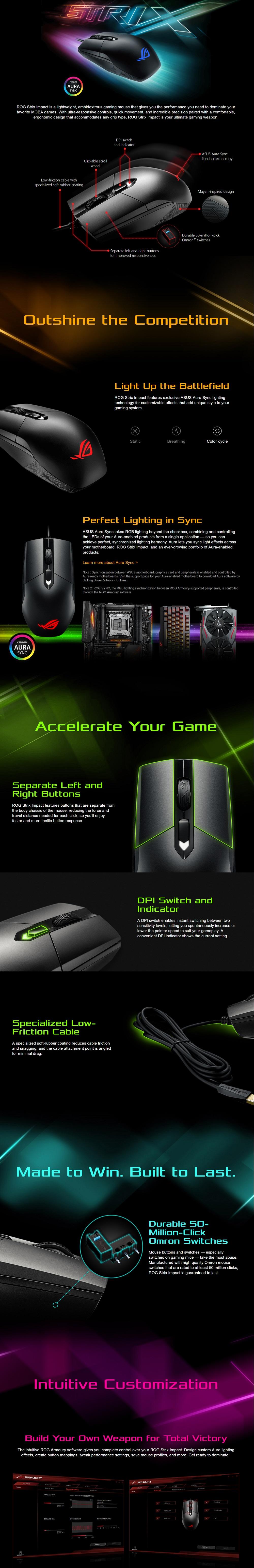 Asus ROG Strix Impact Aura 5K DPI Gaming Mouse