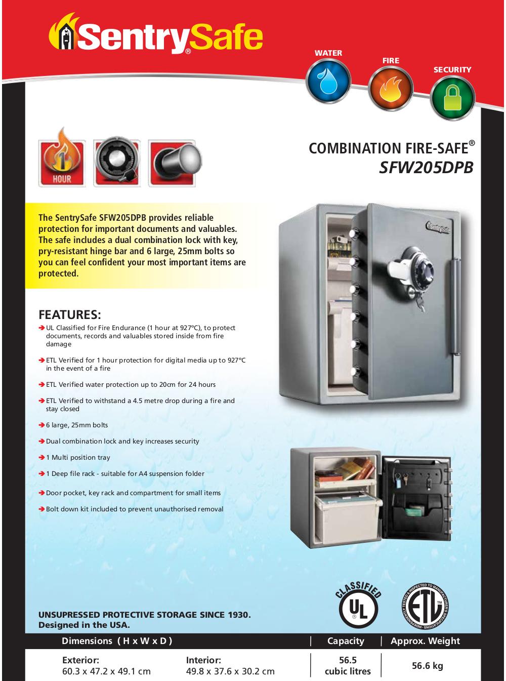 SentrySafe SFW205DPB Fire & Water Proof  Digital Alarm