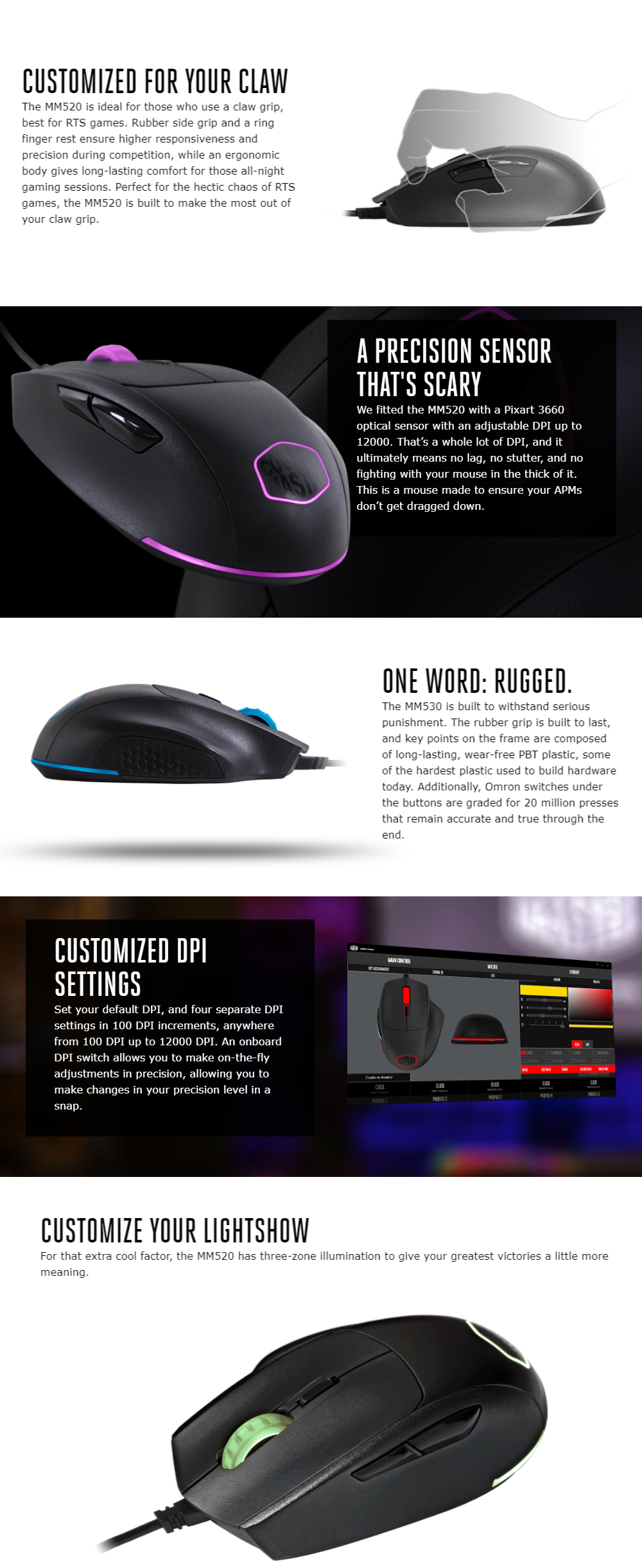Cooler Master Mastermouse MM520 RGB Ergonamic Right Handed Gaming Mouse