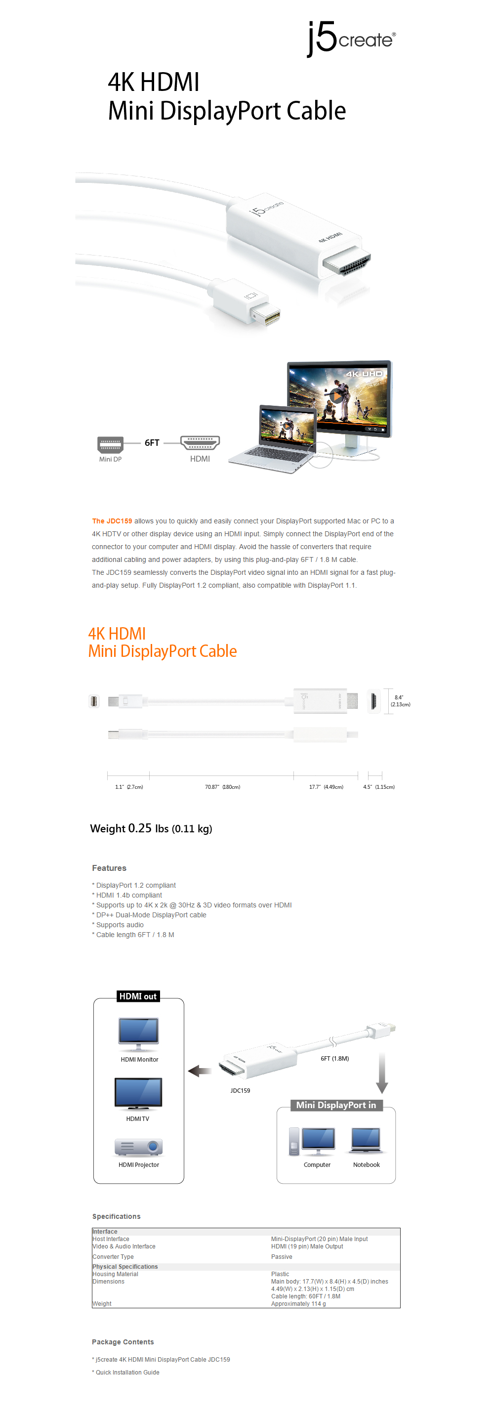 Mobile Accessories Cables J5create Jdc159 4k Hdmi Mini Display Port To Adapter 13cm Overview