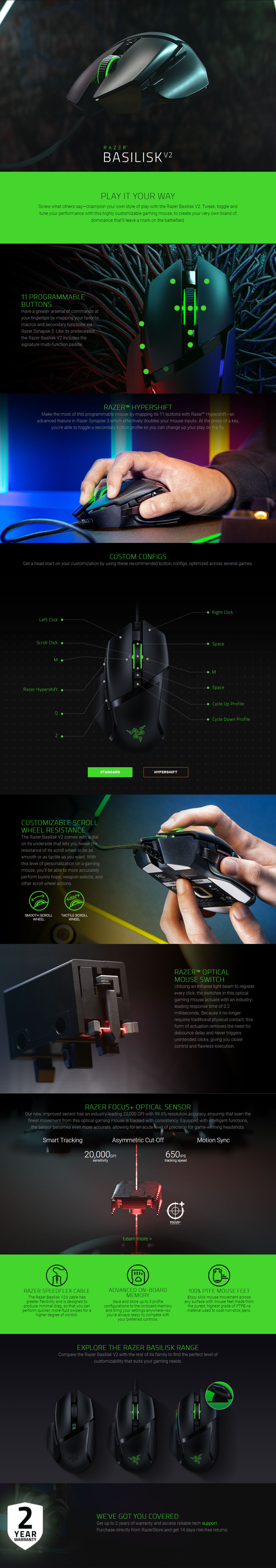 Gaming Accessories | Gaming Mice | Razer Basilisk V2 - Ergonomic Wired  Gaming Mouse - Hachi.tech