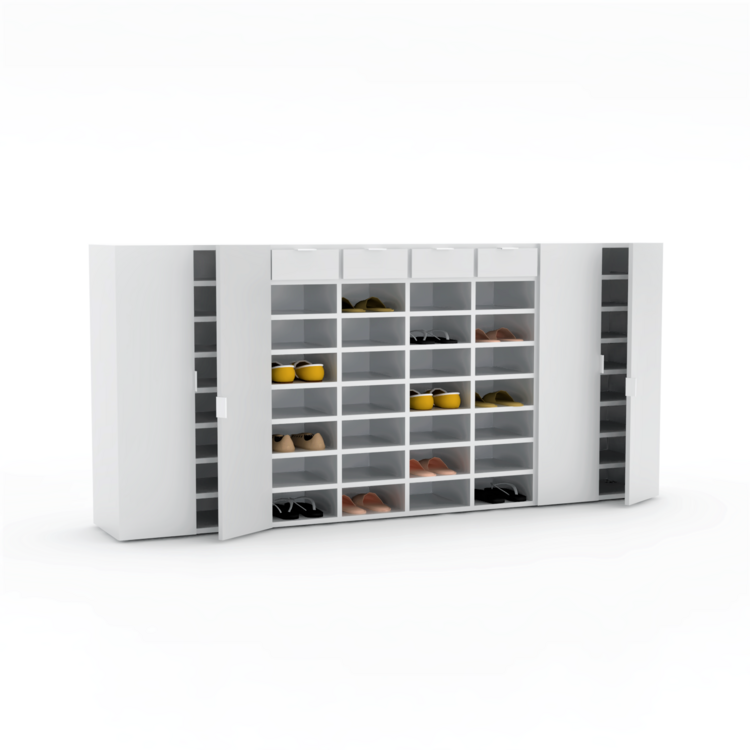 large white shoe cabinet