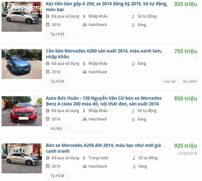 Giá xe Mercedes A - Class đời 2014