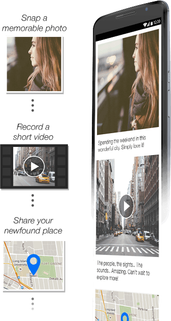 Snap a memorable photo, record a short video, share your newfound place.