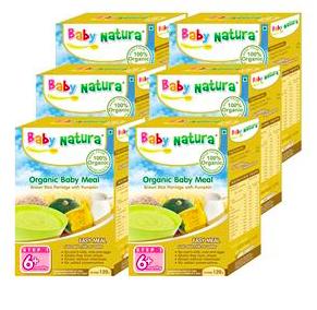ข้าวกล้องบดผสมฟักทองออร์แกนิก BABY NATURA สำหรับเด็ก 6 เดือนขึ้นไป 120 กรัม x 6 กล่อง (ยกลัง)