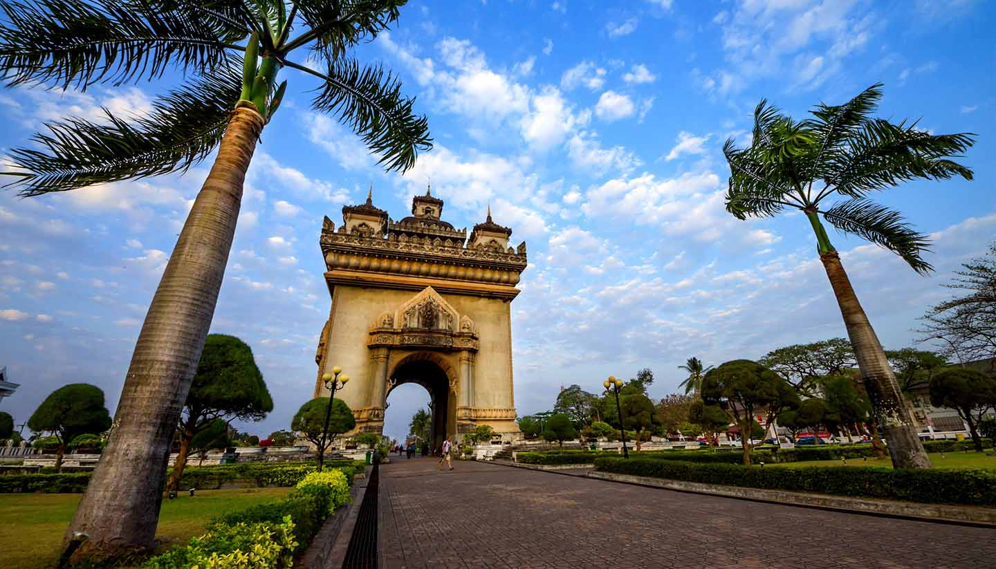 Patuxai arch monument in Vientiane, the Capital of Laos.