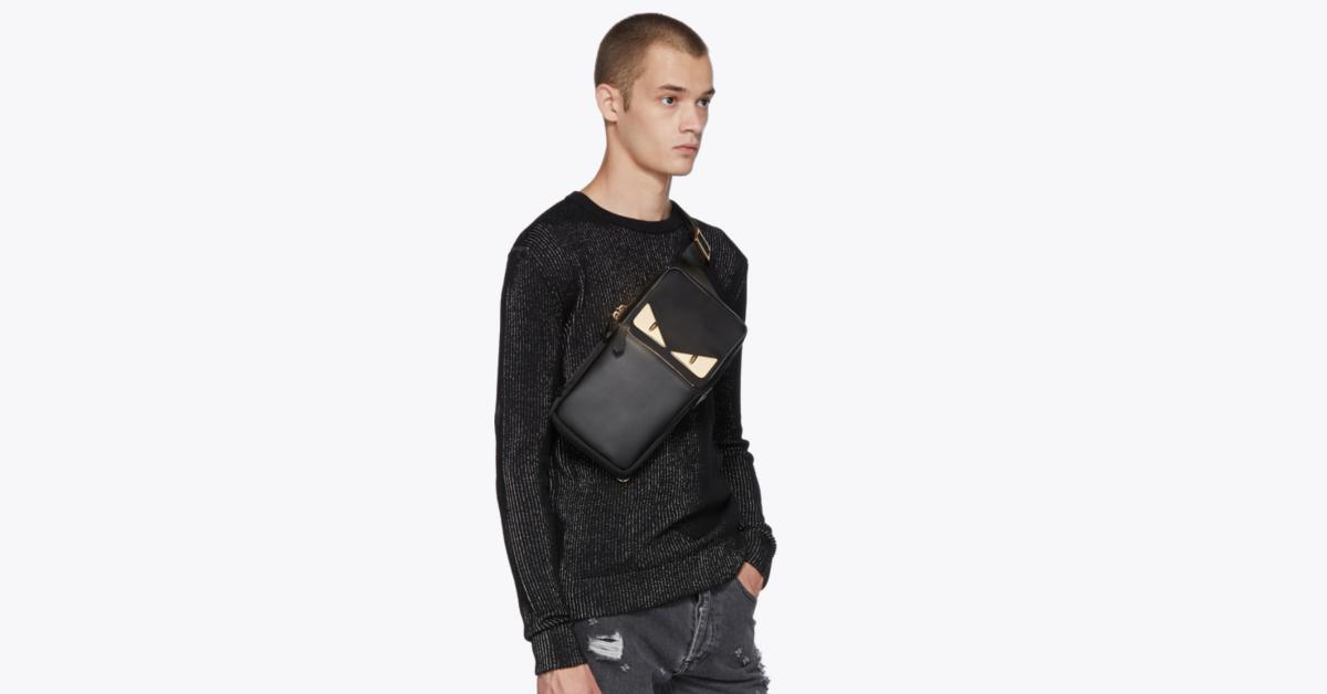 กระเป๋า fendi ของแท้ Black 'Bag Bugs' Single-Strap Backpack