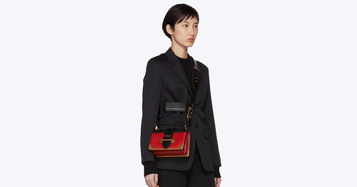 กระเป๋า prada ของแท้ Colorblocked Cahier Bag