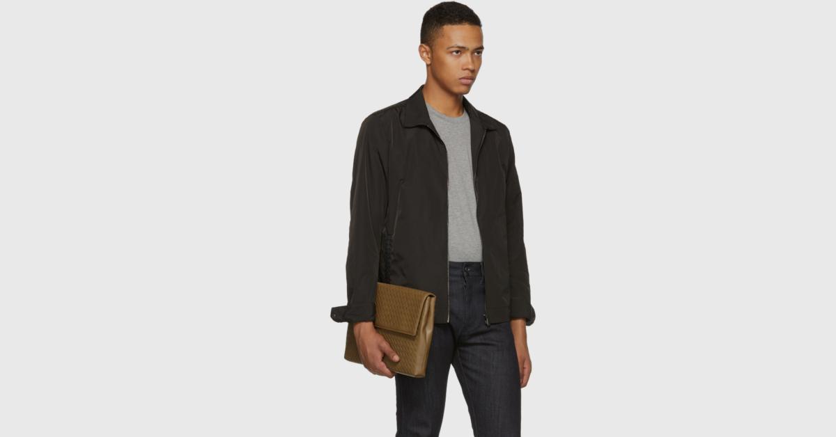 กระเป๋า bottega ของแท้ Brown Intrecciato Flap Pouch