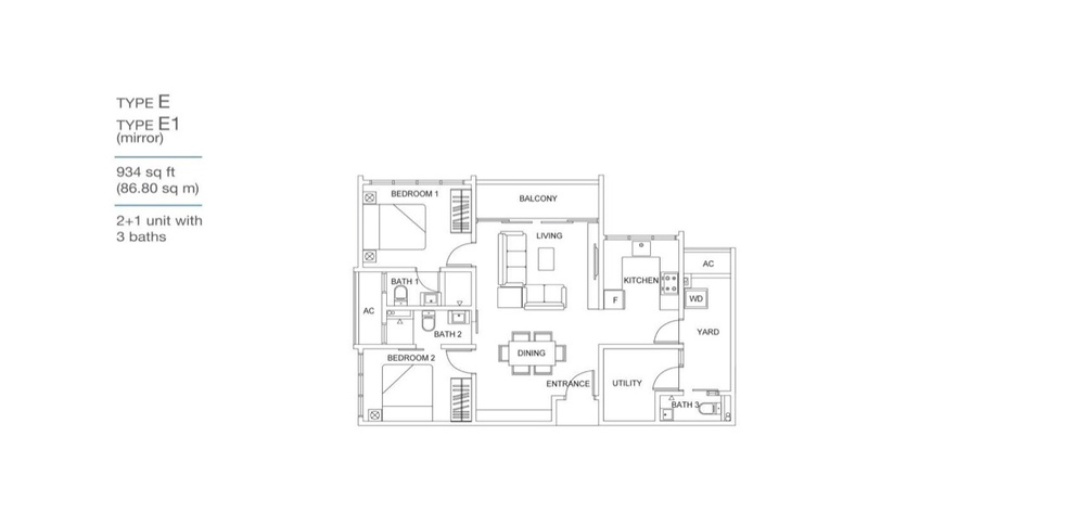 Skyville 8 Type E / E1 Floor Plan