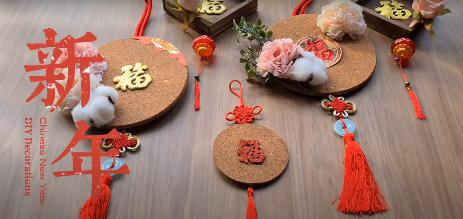 [Video] DIY Chinese New Year Decorations – Creating Beautiful Hanging Ornaments with Coasters & Wooden Trays