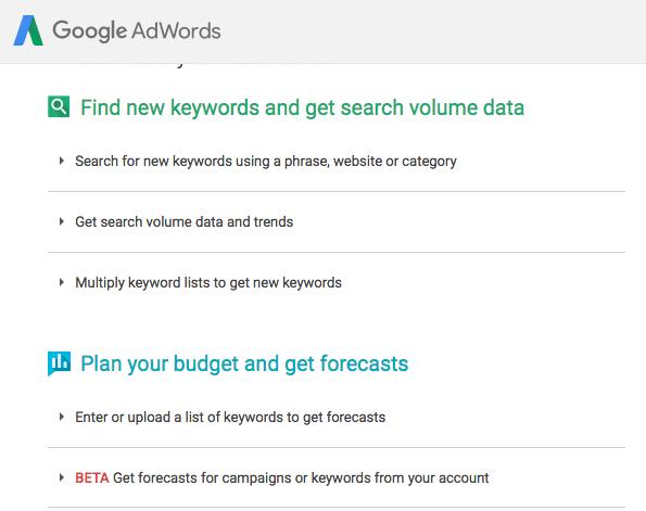 Google adwords關鍵字規劃工具