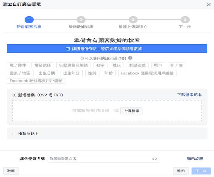 facebook自訂廣告受眾