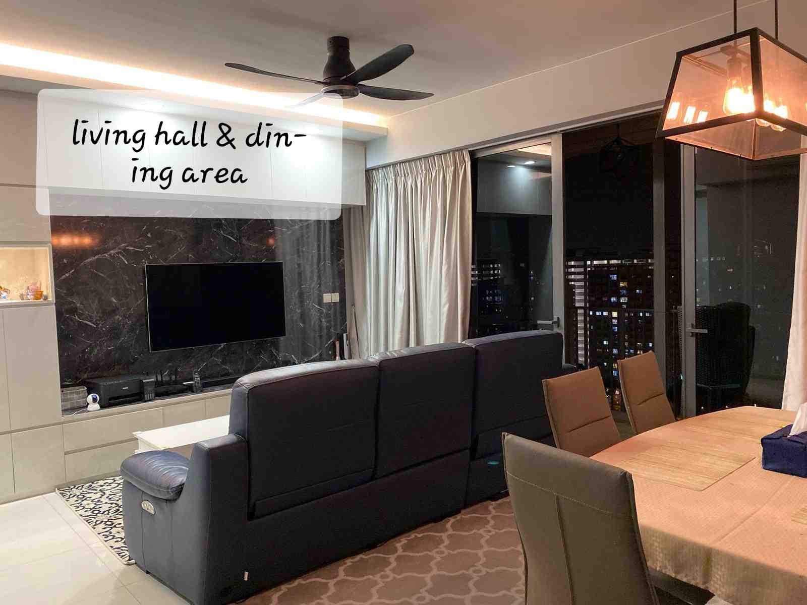 1. living hall   dining area  2